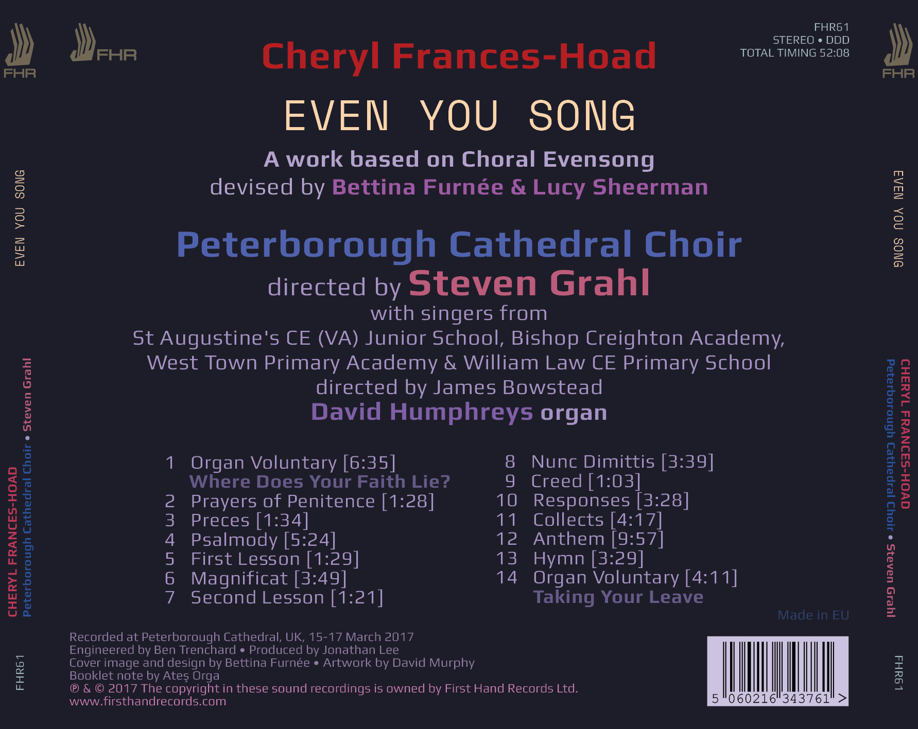 FRANCES-HOAD: Even You Song (Peterborough Cathedral Choir)